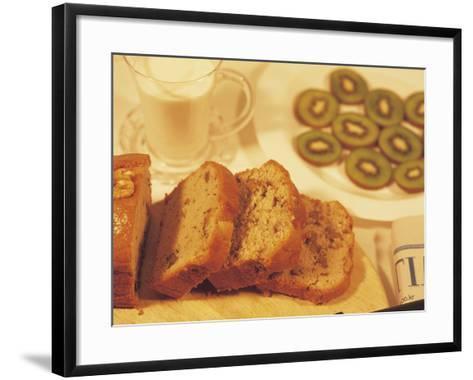 Sliced Coffee Cake and Kiwi Fruit--Framed Art Print