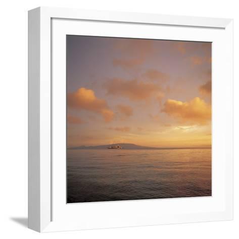 Golden Sunset Over Shimmering Ocean Waters--Framed Art Print