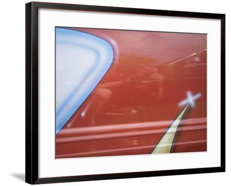 Painted Decoration on Sporty Red Car--Framed Art Print