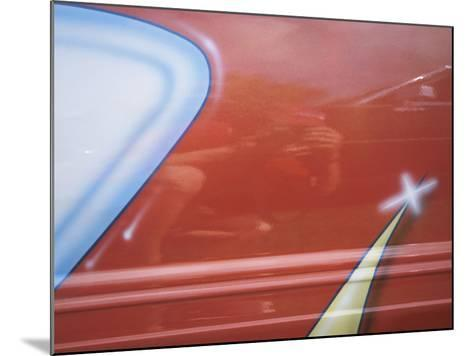 Painted Decoration on Sporty Red Car--Mounted Photographic Print