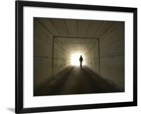 Person Walking Through Tunnel Towards Light--Framed Art Print