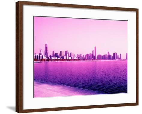 Grandiose Skyline as Seen across the Rippled River Surface in Chicago, Illinois--Framed Art Print
