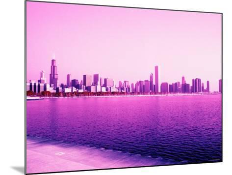 Grandiose Skyline as Seen across the Rippled River Surface in Chicago, Illinois--Mounted Photographic Print