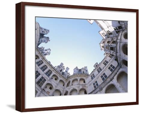 Stone Balcony Overlooking Long Blue Lake in Countryside--Framed Art Print