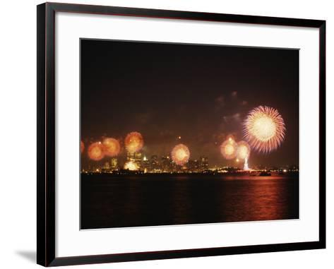 Fireworks Celebration with Manhattan Skyline and Statue of Liberty, Manhattan, New York--Framed Art Print