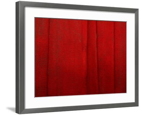 Bright Red Fire Hose Made of Tightly Woven Fabric and Folded into Layers--Framed Art Print