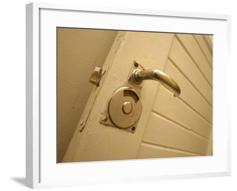 Brass Door Handle on White Painted Wood Wall--Framed Art Print