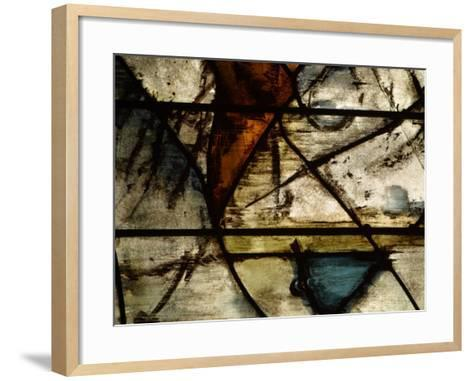 Close-Up of Abstract Pattern in Stained Glass--Framed Art Print