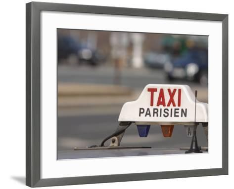 Close-Up of Sign on Roof of Taxi in Paris, France--Framed Art Print