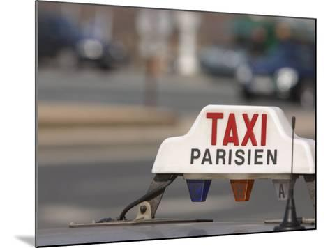 Close-Up of Sign on Roof of Taxi in Paris, France--Mounted Photographic Print