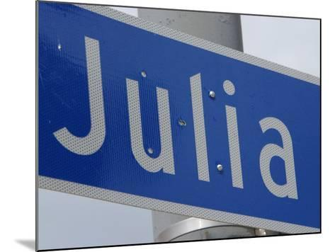 Close-Up of Blue Julia Street Sign from New Orleans, Louisiana--Mounted Photographic Print