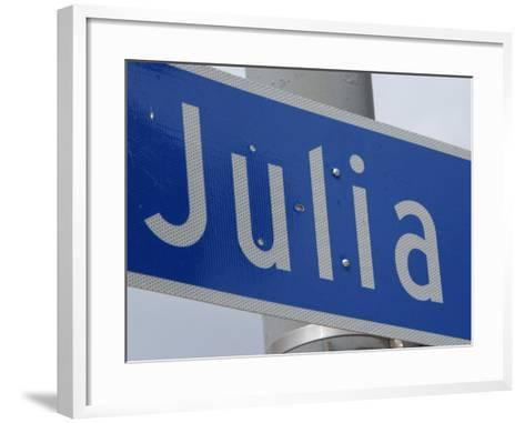 Close-Up of Blue Julia Street Sign from New Orleans, Louisiana--Framed Art Print