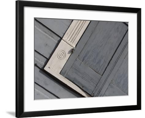 Tilted View of Exterior Gray Wall and Window Shutter in New Orleans, Louisiana--Framed Art Print