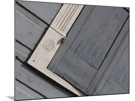 Tilted View of Exterior Gray Wall and Window Shutter in New Orleans, Louisiana--Mounted Photographic Print