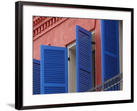 Open Blue Window Shutters on Ornate Building in New Orleans, Louisiana--Framed Art Print