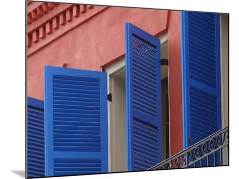 Open Blue Window Shutters on Ornate Building in New Orleans, Louisiana--Mounted Photographic Print