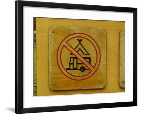 Wooden Camping Prohibited Sign--Framed Art Print
