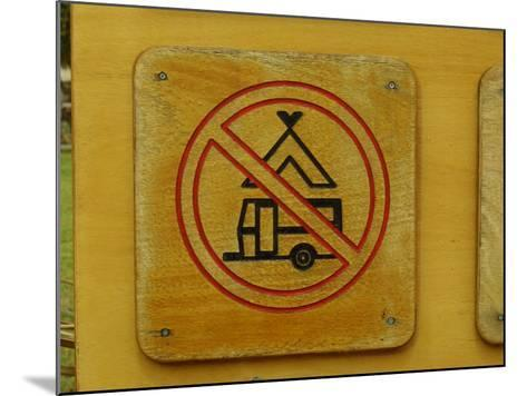 Wooden Camping Prohibited Sign--Mounted Photographic Print