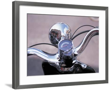 Reflective Chrome Handlebars on a Motorcycle--Framed Art Print
