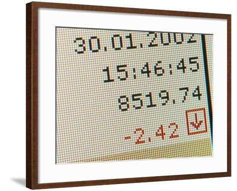 Grainy Computerized Financial Statement Losses--Framed Art Print
