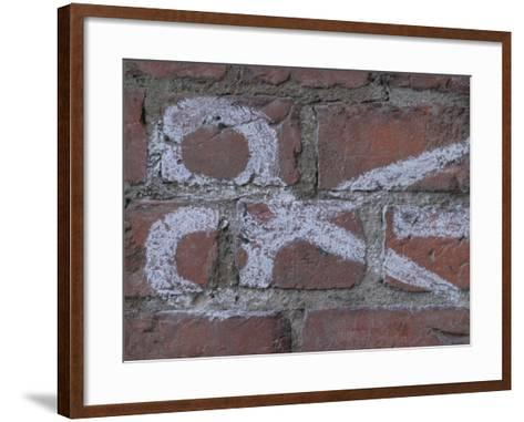 Painting of Scissors on Rustic Brick Wall--Framed Art Print