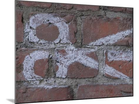 Painting of Scissors on Rustic Brick Wall--Mounted Photographic Print