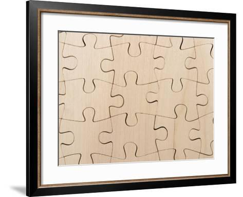 Completed Puzzle Pieces Textured Background--Framed Art Print