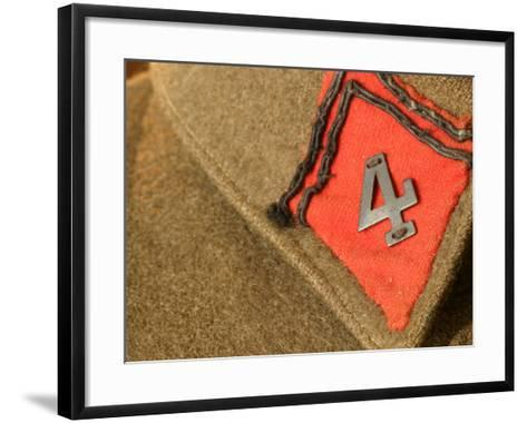 Patch with Number Sewn on Brown Fabric Background--Framed Art Print