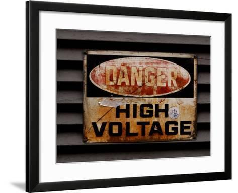 Weathered and Rusted Metal High Voltage Danger Sign--Framed Art Print