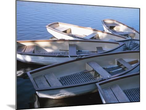 Empty Rowboats Moored Together on Tranquil Water--Mounted Photographic Print