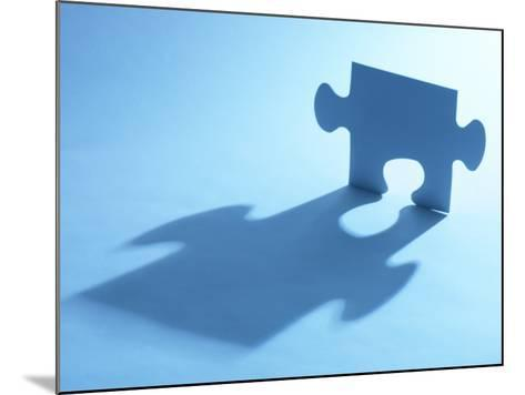 Standing Blue Puzzle Piece with Shadow in Blue Light--Mounted Photographic Print