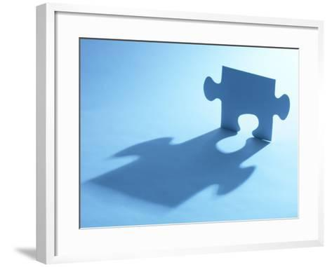 Standing Blue Puzzle Piece with Shadow in Blue Light--Framed Art Print