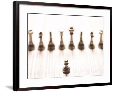 Selective Focus of Silver Pawn on Newspaper Stock Market Report with Line of Chess Pieces--Framed Art Print