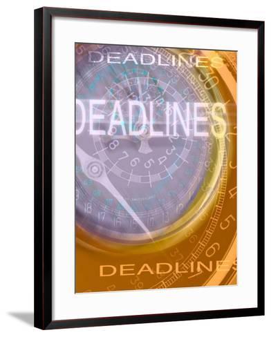Deadlines Superimposed over Clocks--Framed Art Print