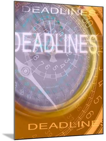 Deadlines Superimposed over Clocks--Mounted Photographic Print