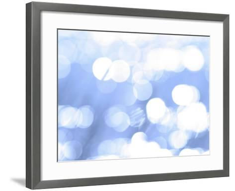 Close-Up of Abstract Blue Background with White Circles--Framed Art Print