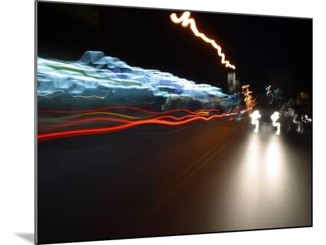 Light Streaks from Car Headlights at Night--Mounted Photographic Print