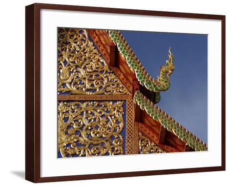 Ornamental Architectural Details on the Exterior of a Pagoda, Thailand--Framed Art Print