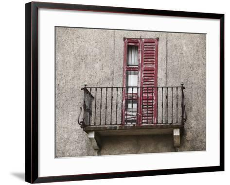 Weathered Shutters to Rusted Balcony of Old Building--Framed Art Print