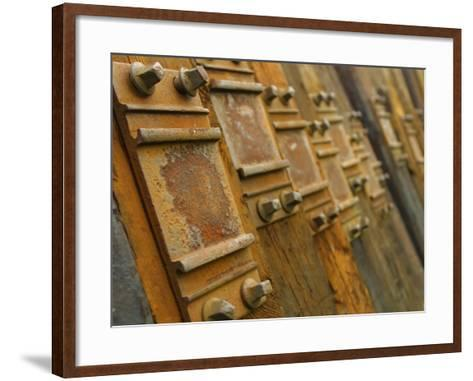 Close-Up of Rustic Metal Pieces Lined Up in a Organized Fashion--Framed Art Print