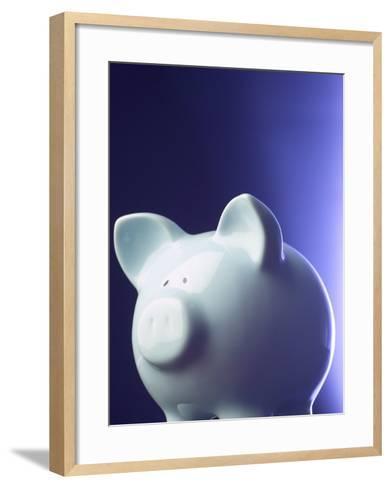 Studio Shot of Blue Porcelain Piggy Bank for Savings--Framed Art Print