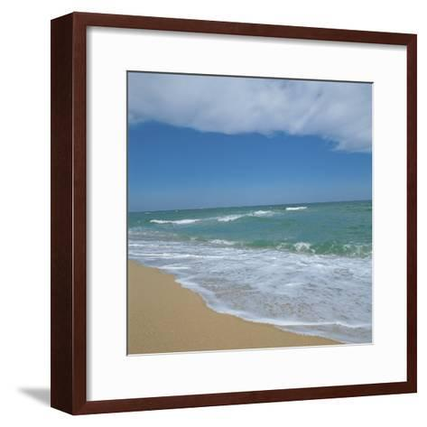 Waves Lapping Up onto Sandy Beach--Framed Art Print