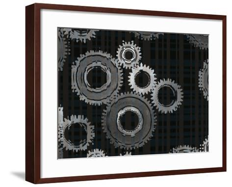 Striped Silver Metal Assembly Gears of Various Sizes--Framed Art Print