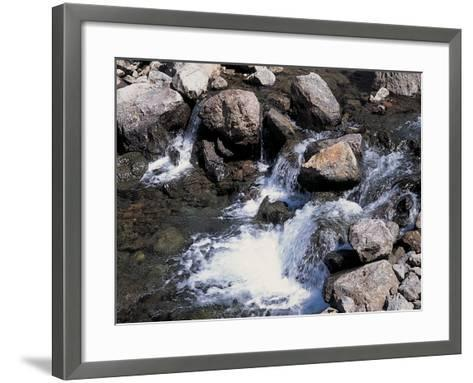 Rushing and Rapid River Stream over Rocks--Framed Art Print