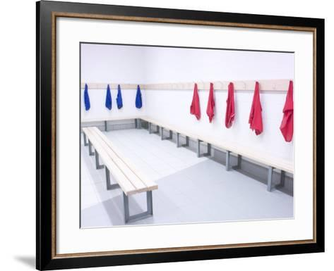 Blue and Red Shirts Hanging from Hooks in School Gym Change Room--Framed Art Print