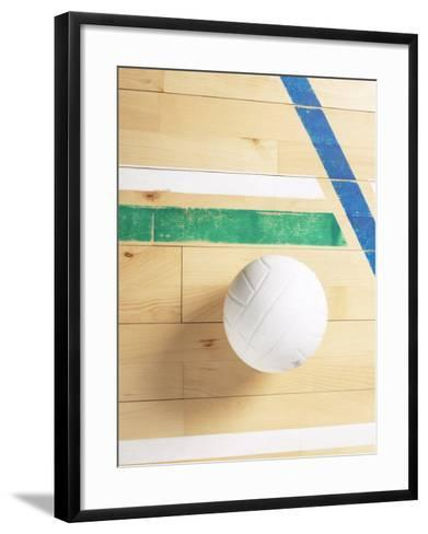 View of Volleyball on Wooden Gymnasium Floor--Framed Art Print
