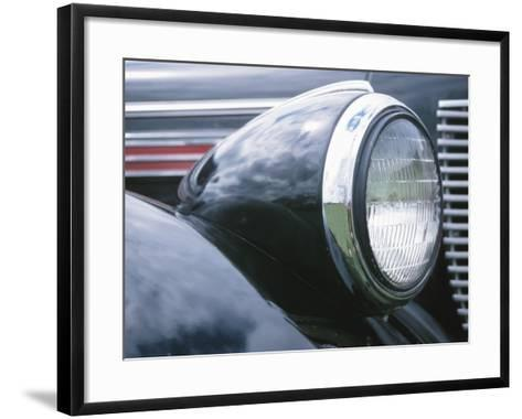 Reflective Chrome Headlight in Antique Black Car--Framed Art Print