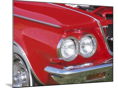 Chrome Headlight in Red Antique Car--Mounted Photographic Print