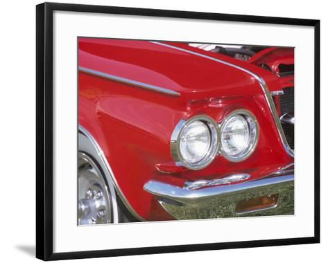 Chrome Headlight in Red Antique Car--Framed Art Print