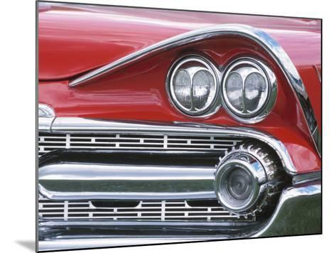Chrome Lights on Antique Red Car--Mounted Photographic Print